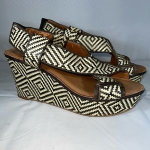 Lucky Brand Vintage Boho Leather Wedges Size 9.5